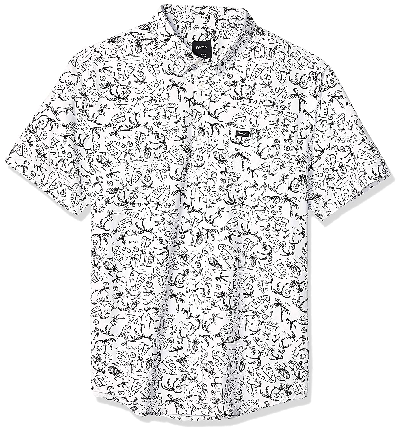 RVCA Mens Sketchy Palms Short Sleeve Woven Button Front Shirt