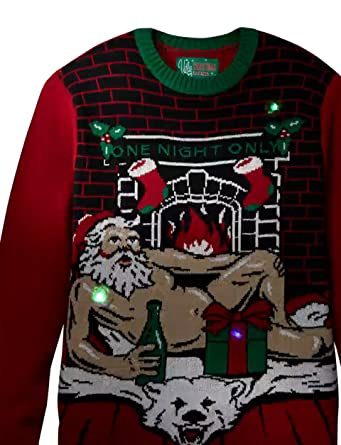 664dc78f9 Ugly Christmas Sweater Men's Romantic Santa Light-Up at Amazon Men's  Clothing store: