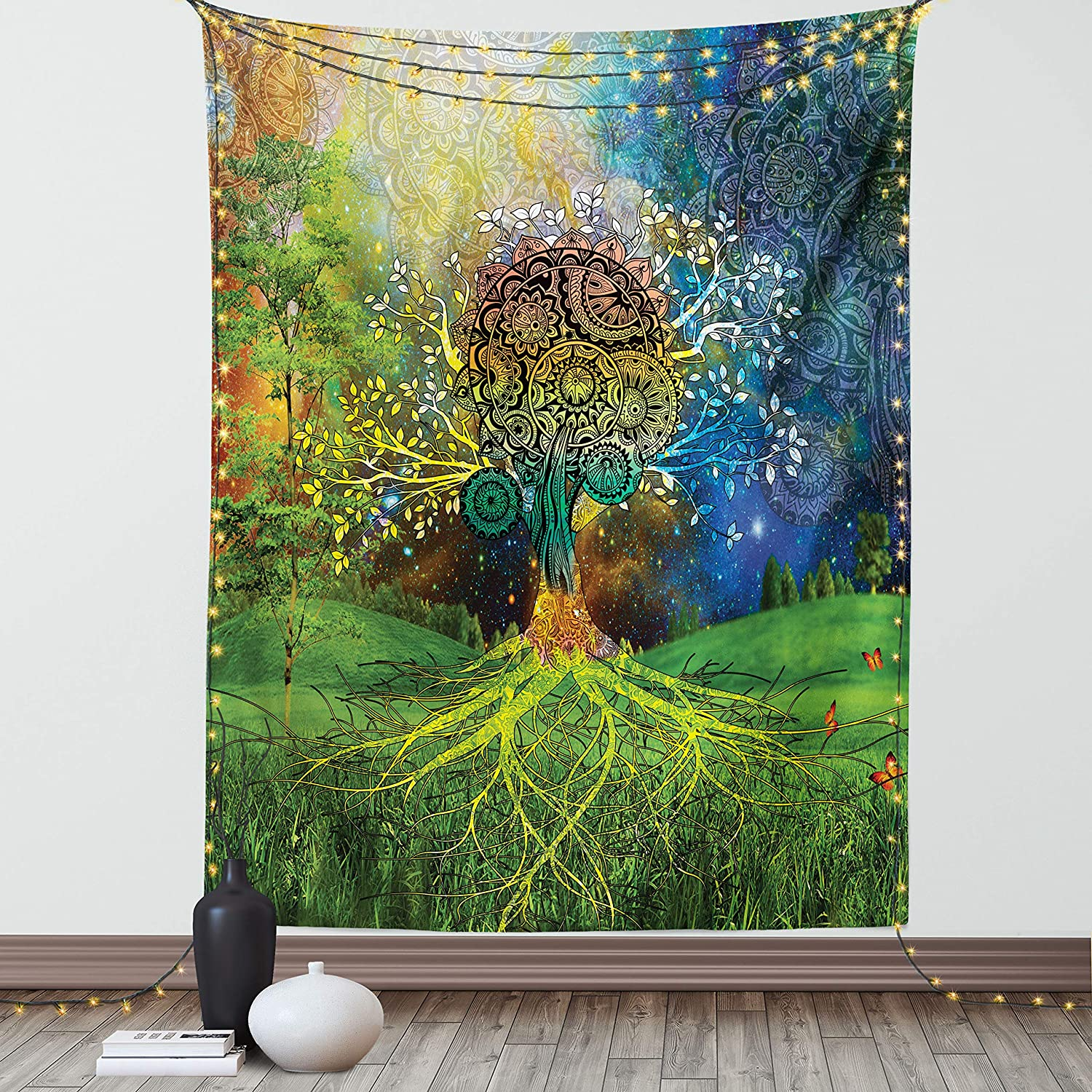 Ambesonne Ethnic Tapestry, Bohemian Tree of Life in The Valley Spiral Branches Balance in The Mother Earth Illustration Print, Wall Hanging for Bedroom Living Room Dorm Decor, 60
