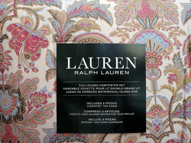 Lauren Ralph Lauren Jacobean Flower Chapman Floral Berry Red Gold Blue 3 Pieces Comforter Bedding Set, Queen