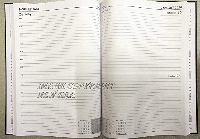 Agenda escolar 2019-2020, tamaño A4, de día a página, con planificador de citas de mitad de año, color negro/azul nevado/rojo/rosa/morado, color rosa