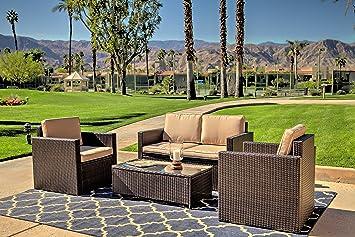 American Patio - 4 piezas Moderno Muebles De Jardín Conjunto ...