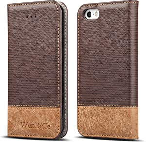 WenBelle for iPhone 5S / SE Case, Stand Feature,Double Layer Shock Absorbing Premium Soft PU Color Matching Leather Wallet Cover Flip Cases for Apple iPhone SE / 5S 4.0 inch Brown