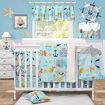 6 Piece Baby Toddler Cot Bedding Set Cotton Sheet Cot Bumper Ocean Blue
