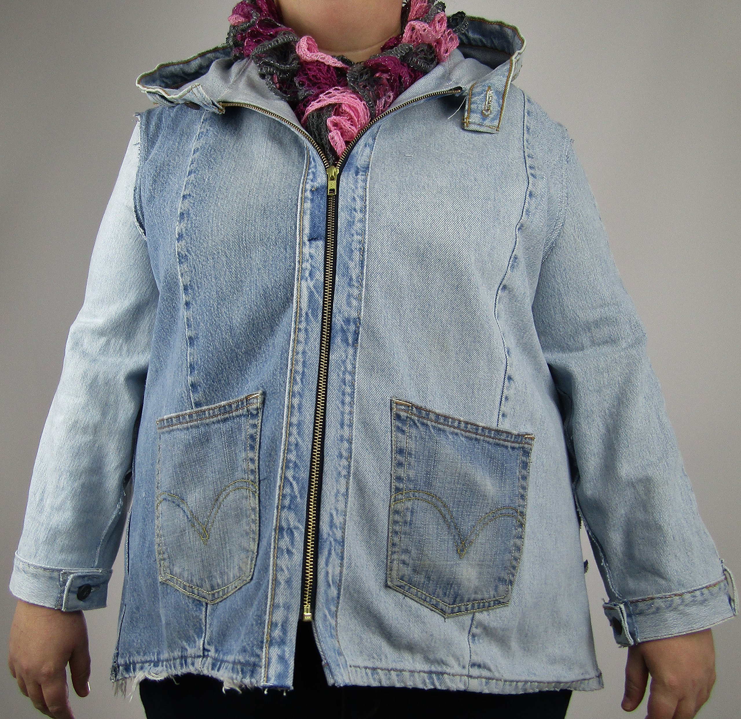 Hooded Denim Jacket XL made from jeans