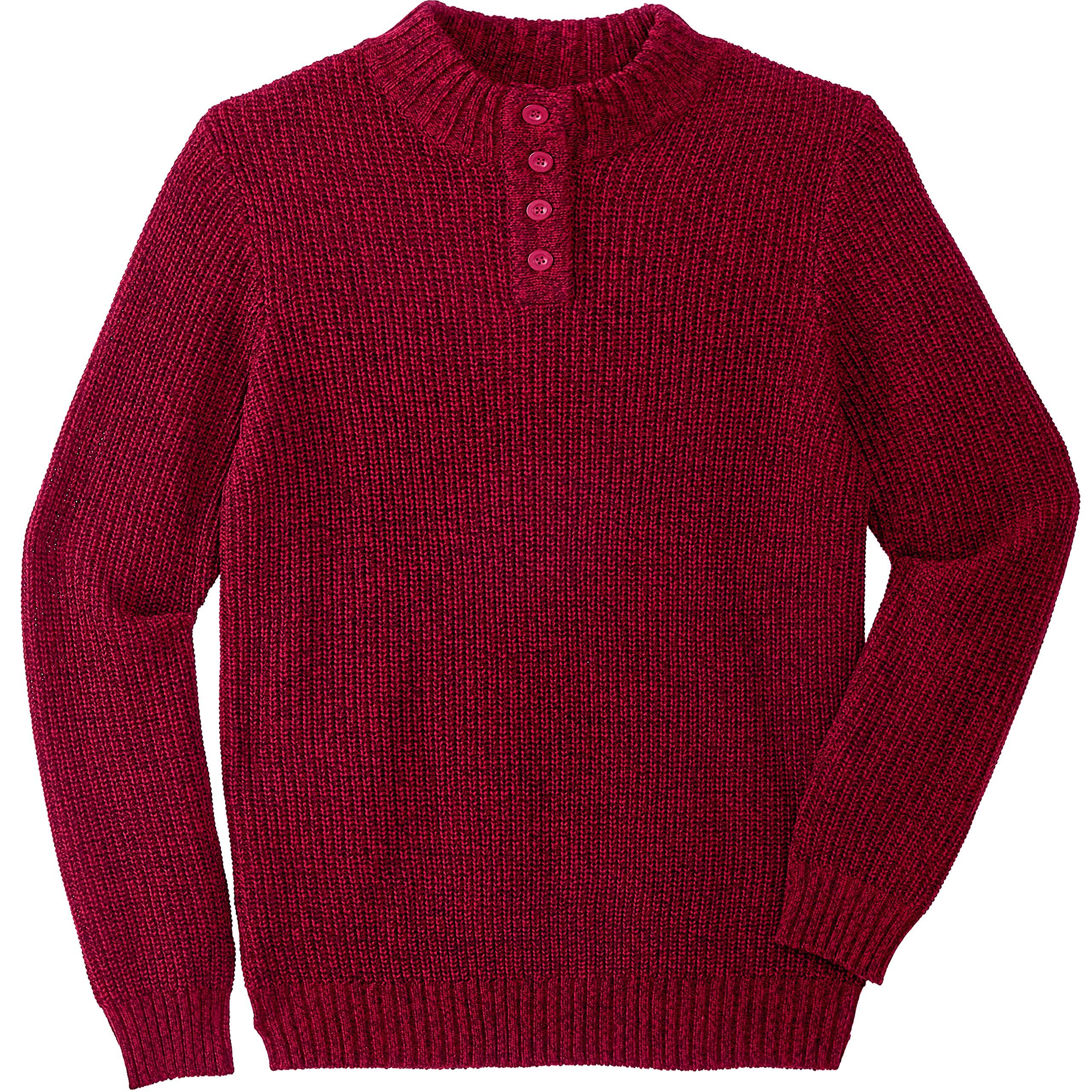 KingSize Men's Big & Tall Henley Shaker Sweater, Rich Burgundy Marl Tall-5XL by KingSize