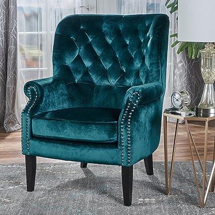 Genial Tommen Tufted Back New Velvet Club Chair (Teal)