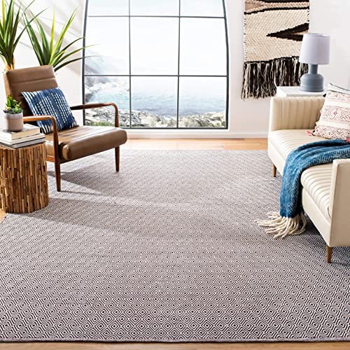 Safavieh Montauk Collection MTK515M Handmade Flatweave Ivory and Chocolate Cotton Area Rug 4' x 6'