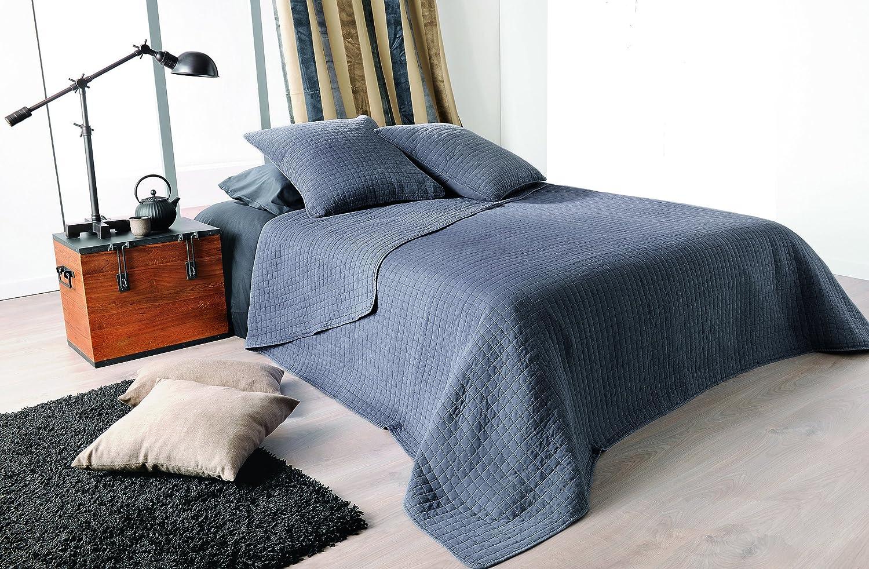 Linder – Stone Washed – Tagesdecke mit 2 Kissenhüllen Sortiert – 230 x 250, Polyester, Graublau, 230 x 250 cm