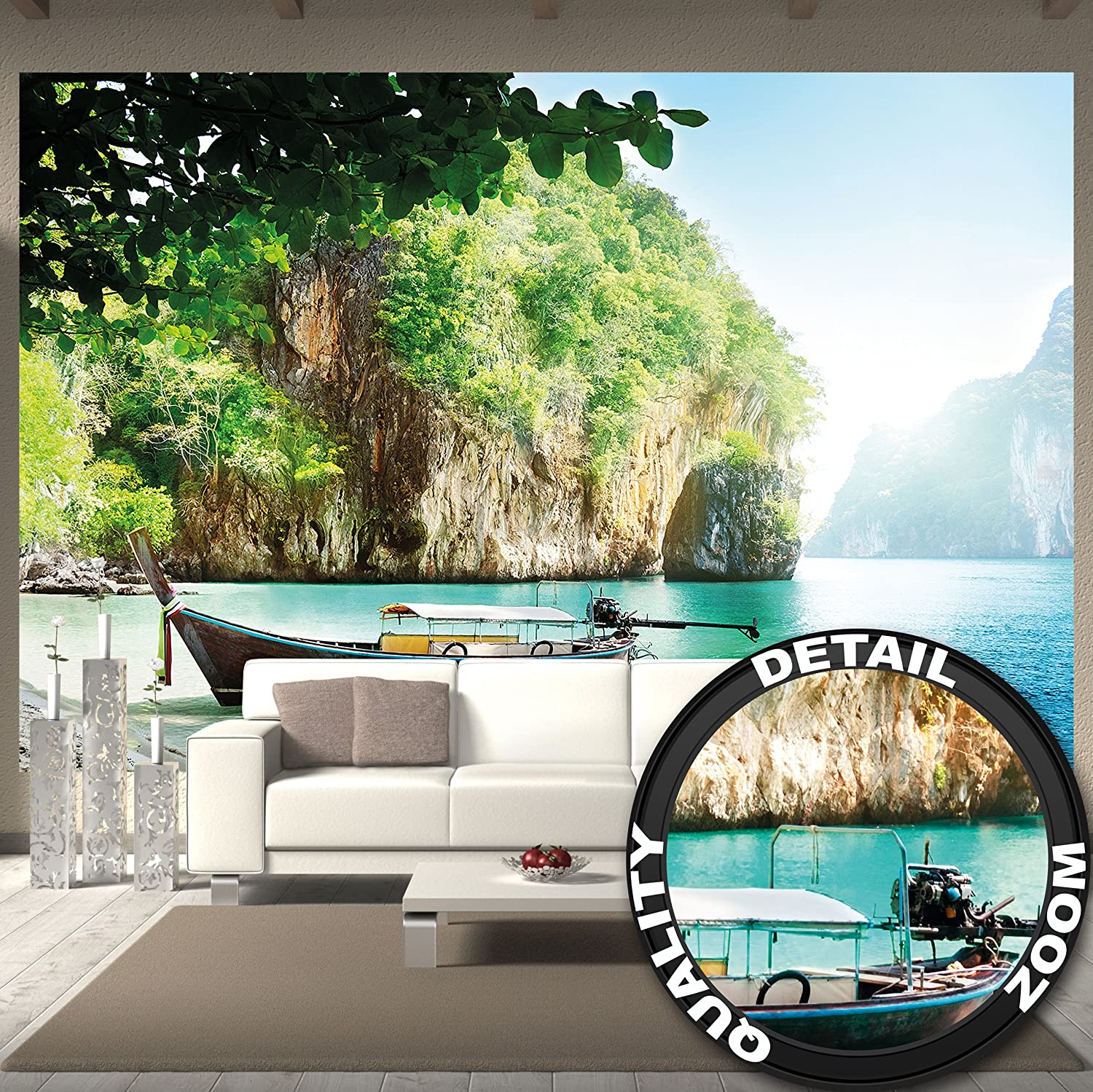 GREAT ART Wallpaper Boat in a Bay -Beach Wall Decoration- Island Paradise Mural Sand, Sun and Relax (132.3 x 93.7 Inch / 336 x 238 cm)