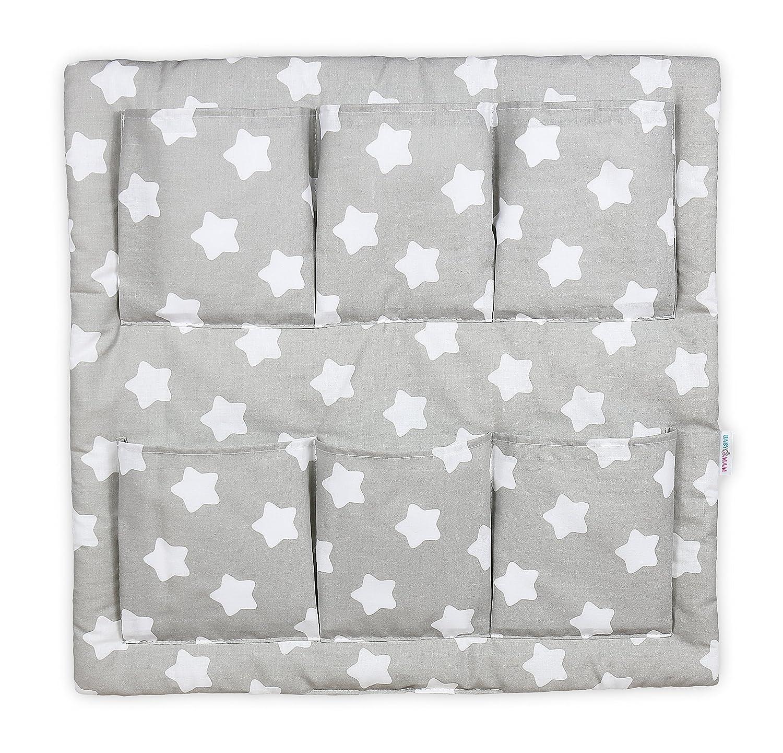 COT TIDY ORGANISER COT BED NURSERY HANGING STORAGE MANY DESIGNS 6 POCKETS BABYMAM BIG WHITE STARS ON PINK