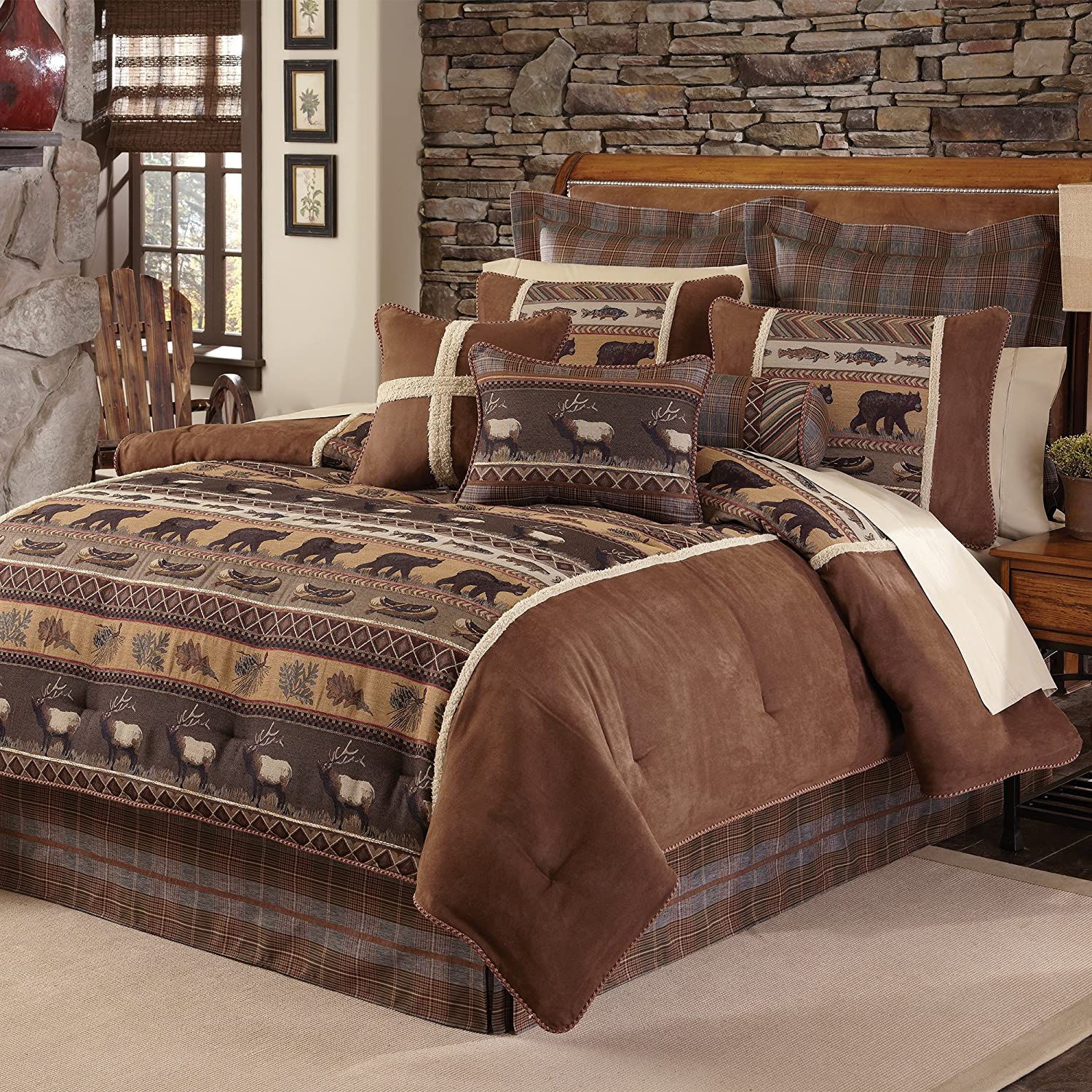 4 Piece Brown Cabin Themed Comforter Queen Set, Lodge Bedding Bears