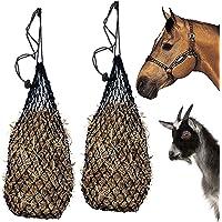 "Majestic Ally 2 pcs Ultra Slow Feed 1.5""x1.5"" Holes 40"" Long Hay Net for Horses, Nylon Rope Hanging, Adjustable Travel…"