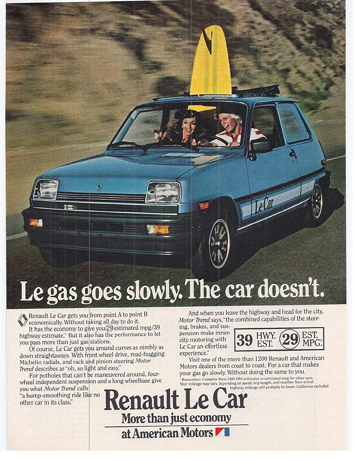 Amazon.com: 1981 Vintage Magazine Advertisement Renault Le Car: Posters & Prints