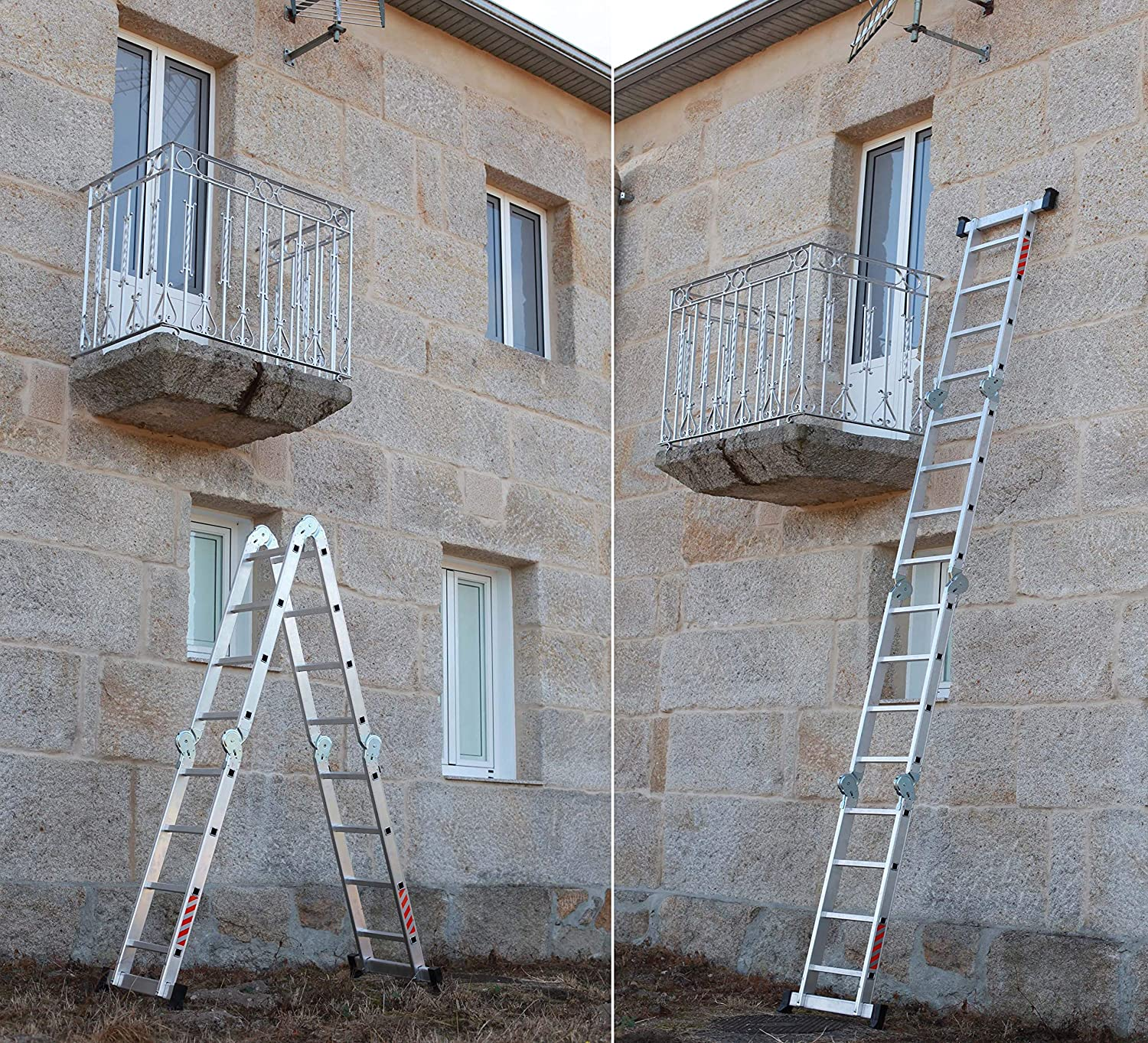 NAWA Escalera Multiusos 4x4 Máx. Carga de Capacidad 150 kg EN131. Hecho en Europa. (Multi-purpose Aluminium ladder Holds up to 150 kg Made in Europe) (4x4): Amazon.es: Bricolaje y herramientas