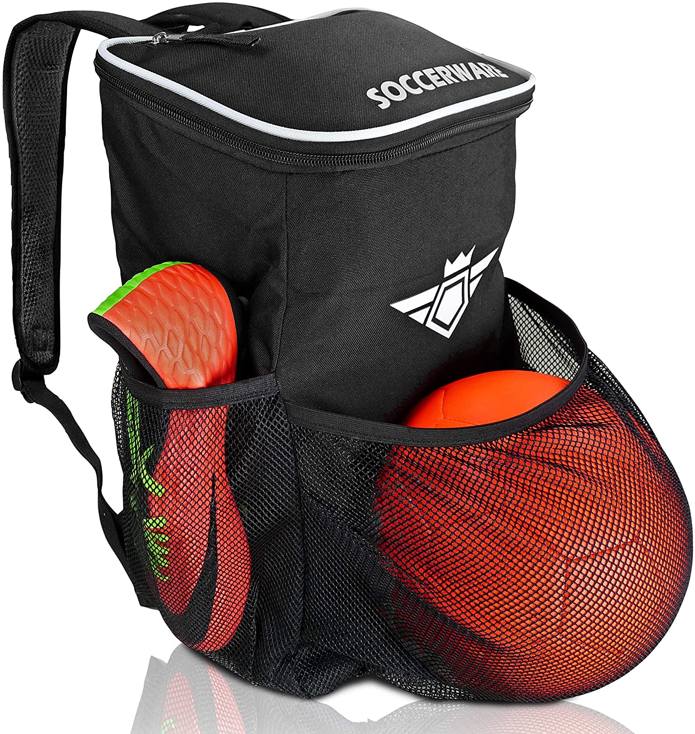 1117d977181 Amazon.com : Soccer Backpack with Ball Holder Compartment - for Boys &  Girls | Bag Fits All Soccer Equipment & Gym Gear (Black) : Sports & Outdoors