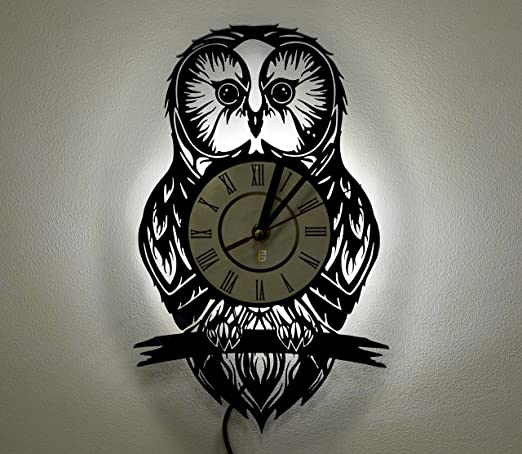 Night Light, LED Light, Wall Lamp, Wall Lights, Owl Wall Clock,