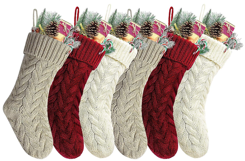 Kunyida Pack 6,14 Unique Burgundy and Ivory White Knit Christmas Stockings Style3