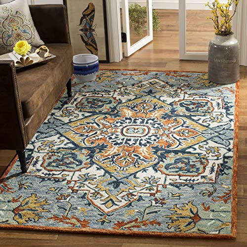 Safavieh Aspen Collection APN312A Blue and Rust Premium Wool Area Rug 9' x 12'