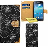 Galaxy S4 Mini Case, FoneExpert® Bling Luxury Diamond Leather Wallet Book Case Cover For Samsung Galaxy S4 Mini GT-I9190 / 9192 / 9195 + Screen Protector & Cloth (Black)
