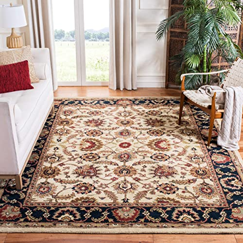 Safavieh Classic Collection CL359E Handmade Traditional Oriental Ivory and Navy Wool Area Rug 6 x 9