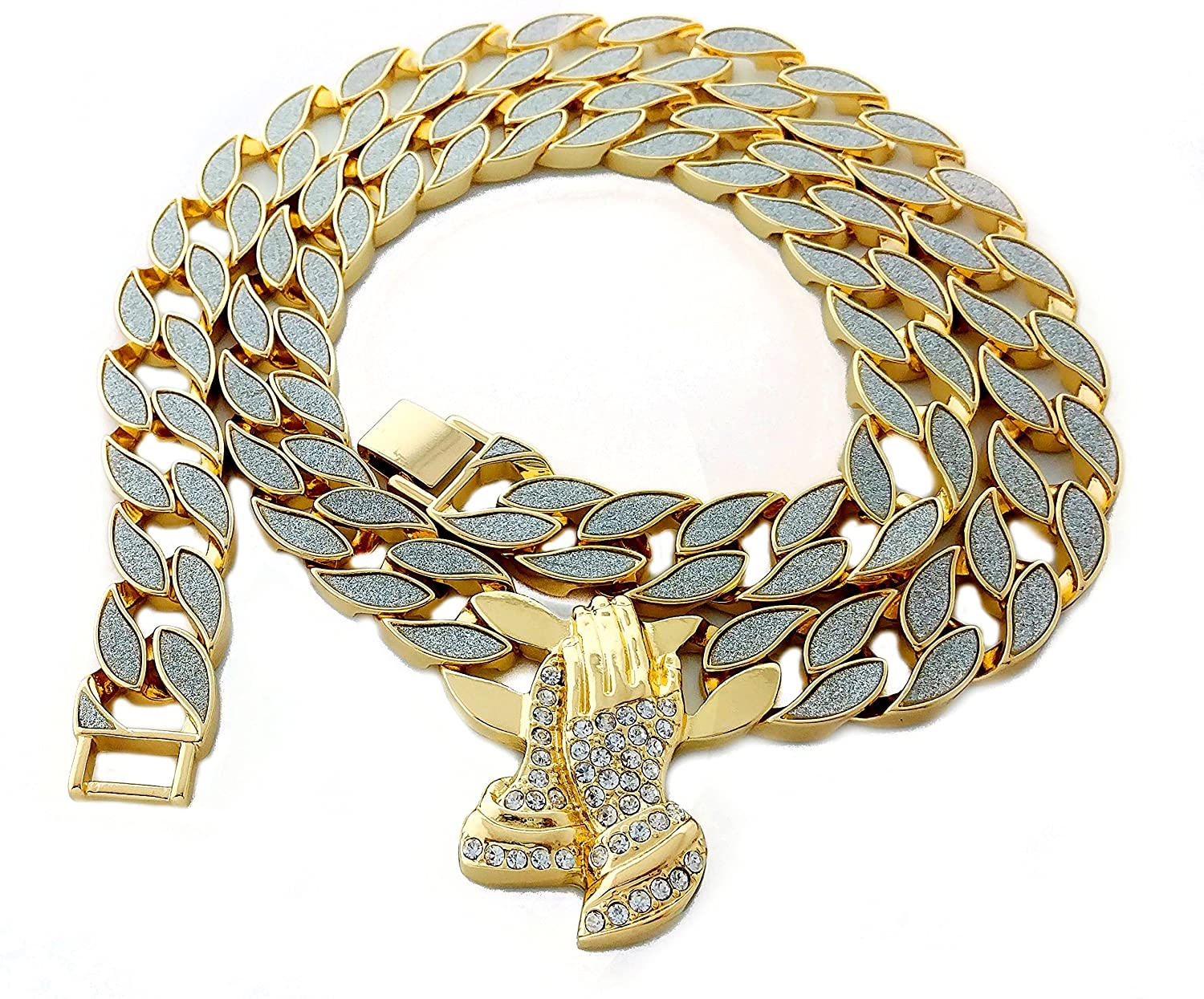 """Thick Miami Cuban Link 30"""" Chain Necklace with Pendant"""