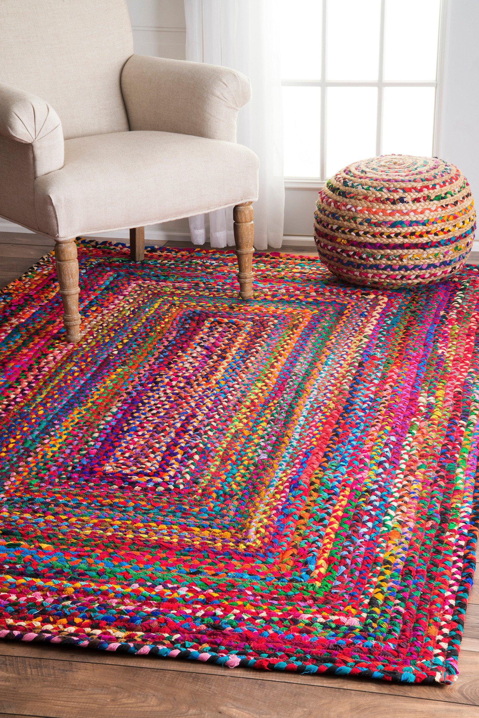 Casual Handmade Braided Cotton Area Rug