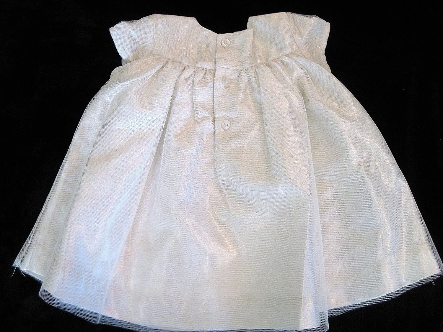 5388a3a33 Amazon.com: Edgehill Collection Shimmery Ivory Smocked Baby Dress (3m):  Clothing
