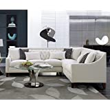 Iconic Home FSA2674-AN Aberdeen Chic Home Linen Tufted Down Mix Modern Contemporary Right Facing Sectional Sofa, Cream