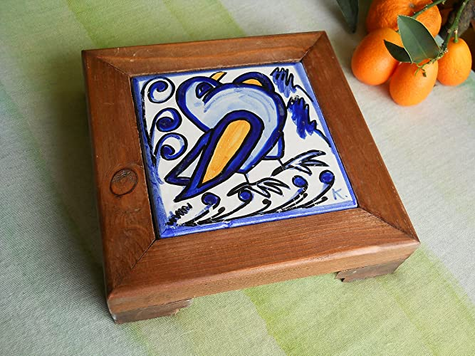 Sottopentola in ceramica siciliana. poggia pentola in ceramica e