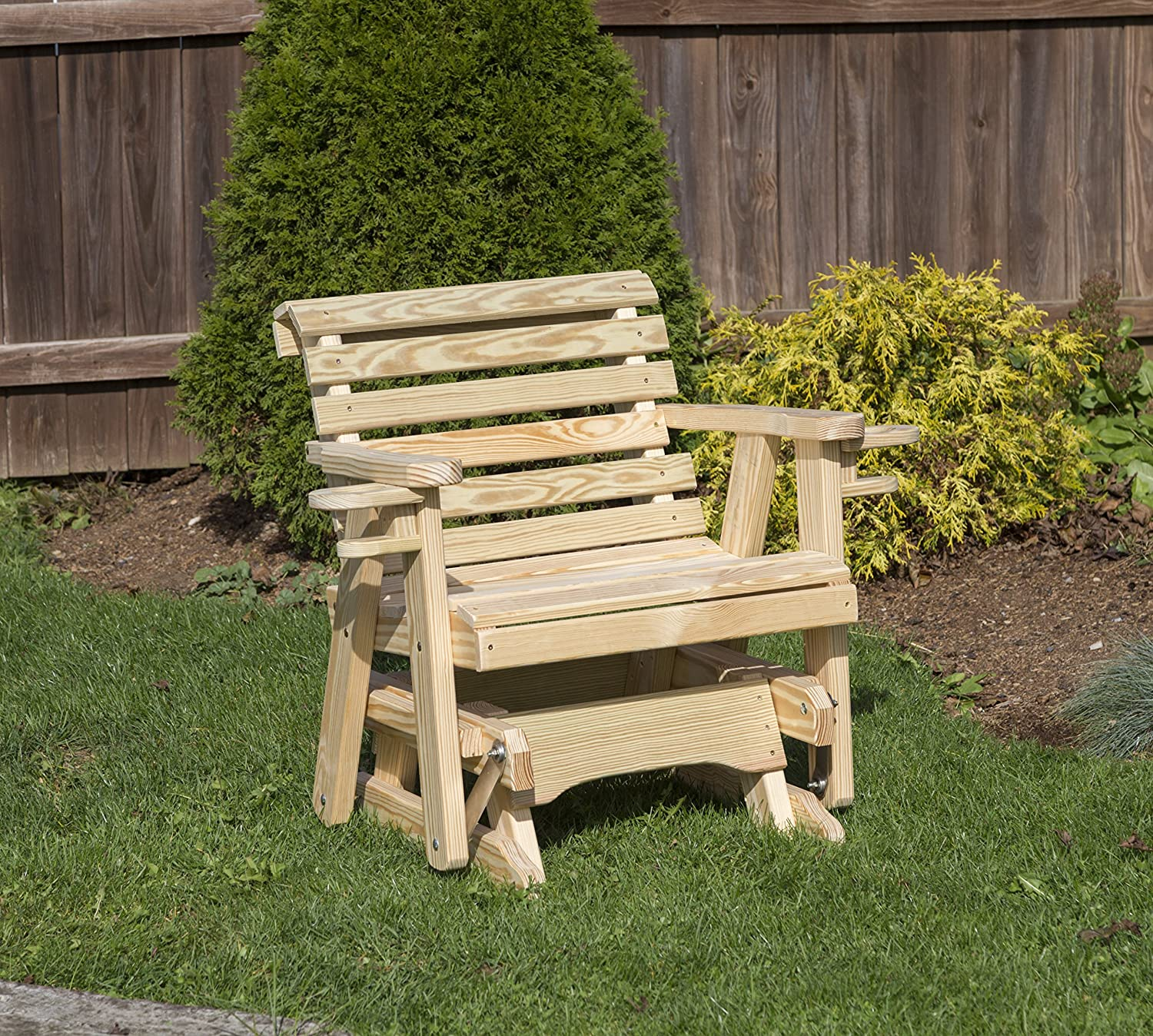 Amish Heavy Duty 600 Lb Roll Back Pressure Treated Porch Patio Garden Lawn Outdoor GLIDER CHAIR with cup holders-2 Feet-GOLD-Made in USA