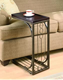 coaster snack table with burnished copper base brown