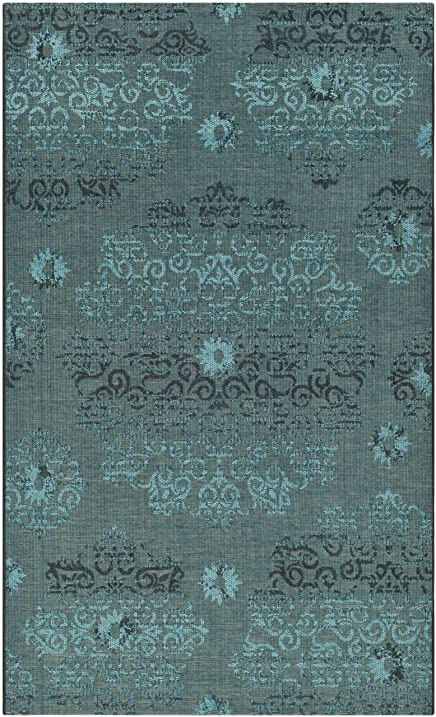 Safavieh Palazzo Collection PAL129 56C4 Black And Turquoise Area Rug (5u0027 X 8