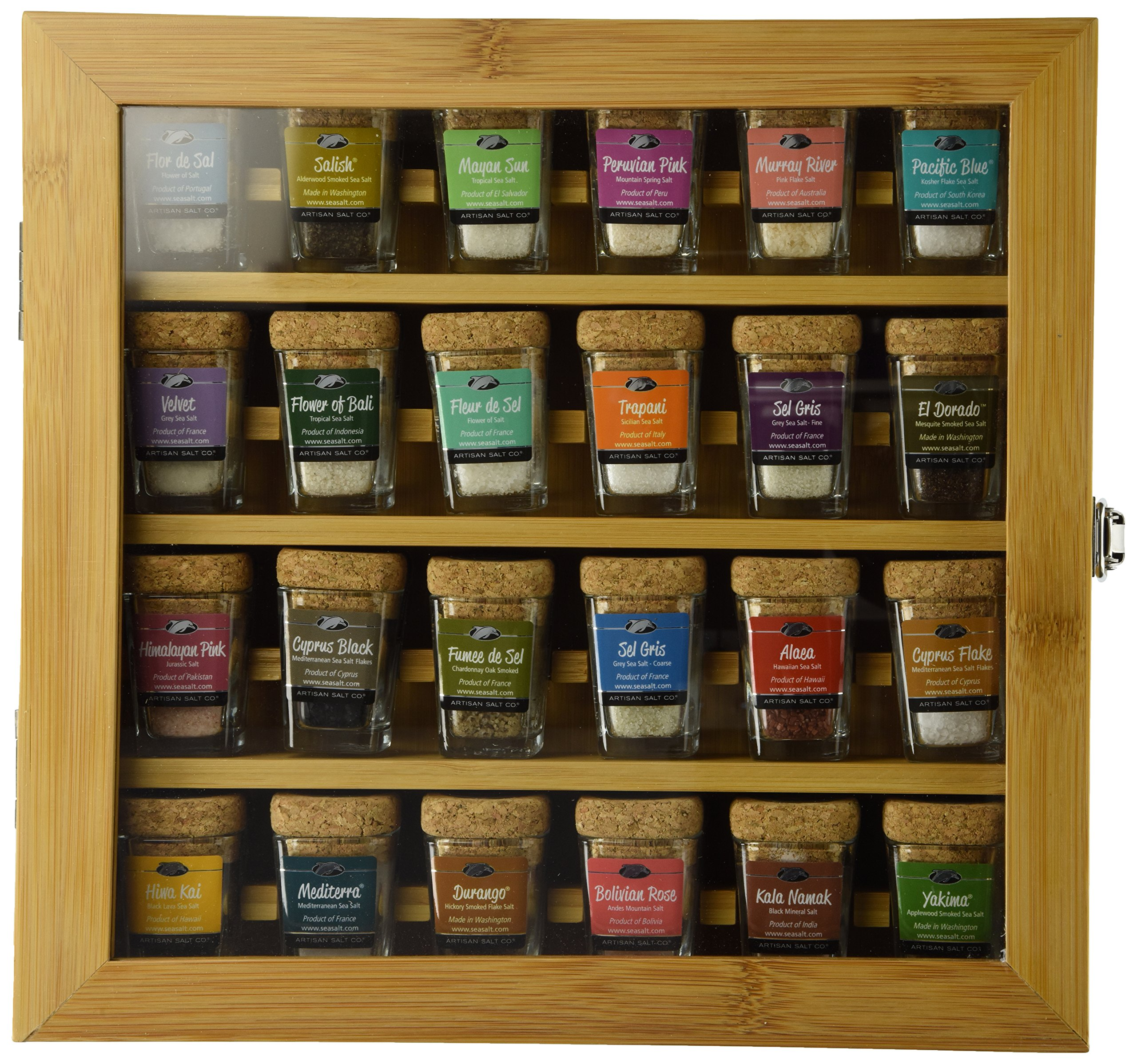 The Best Salts in The World - Collection of 24 Mini-Jars With Cork Tops in Bamboo Presentation Box. The Salt Connoisseur Ultimate Gift!
