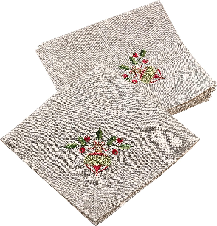 Natural 20 Set of 4 //007.N20S SARO LIFESTYLE Embroidered Ornament Design Christmas Linen Blend Napkin