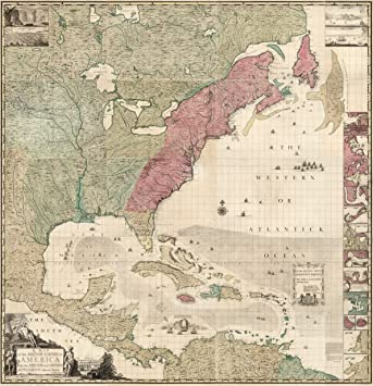 Amazon.com: 1746 Map America 13 Colonies British French ...