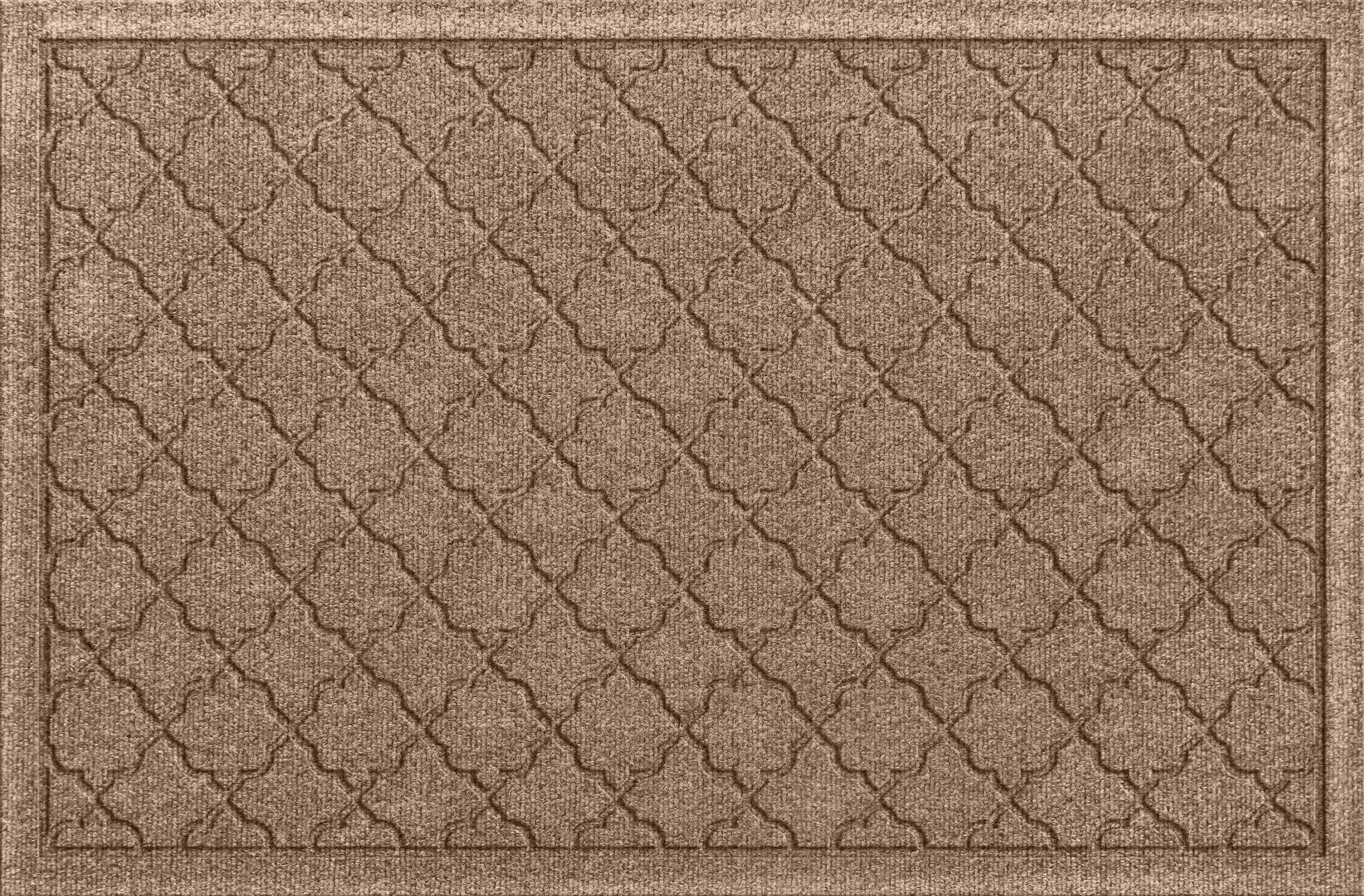 Bungalow Flooring Waterhog Doormat, 2' x 3', Skid Resistant, Easy to Clean, Catches Water and Debris, Cordova Collection, Khaki/Camel