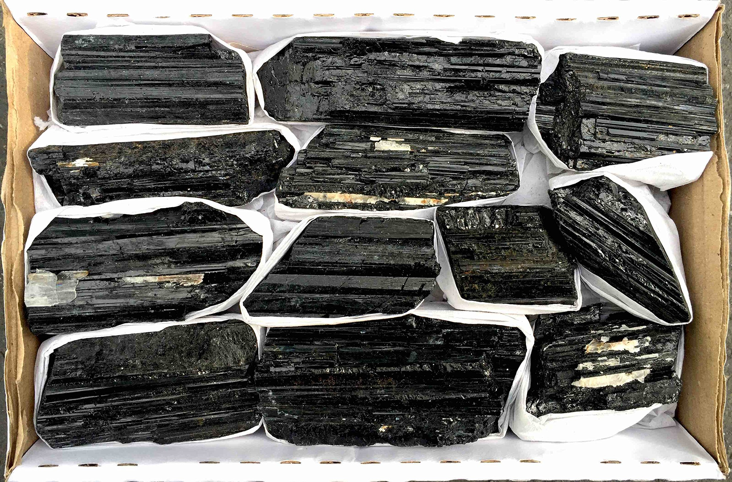 JIC Gem 2 Lb Black Tourmaline Collection in Box of 7x5x2, 10-15 pcs Healing Crystals by JIC Gem