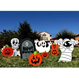 Spooktacular Creations Halloween Decorations Outdoor Skeleton and Ghost Corrugate Yard Stake Signs Halloween Lawn Yard Decorations (Pack of 7)