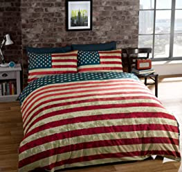 QUEEN SIZE (230 X 220CM - UK KING SIZE) AMERICAN UNITED STATES FLAG REVERSIBLE