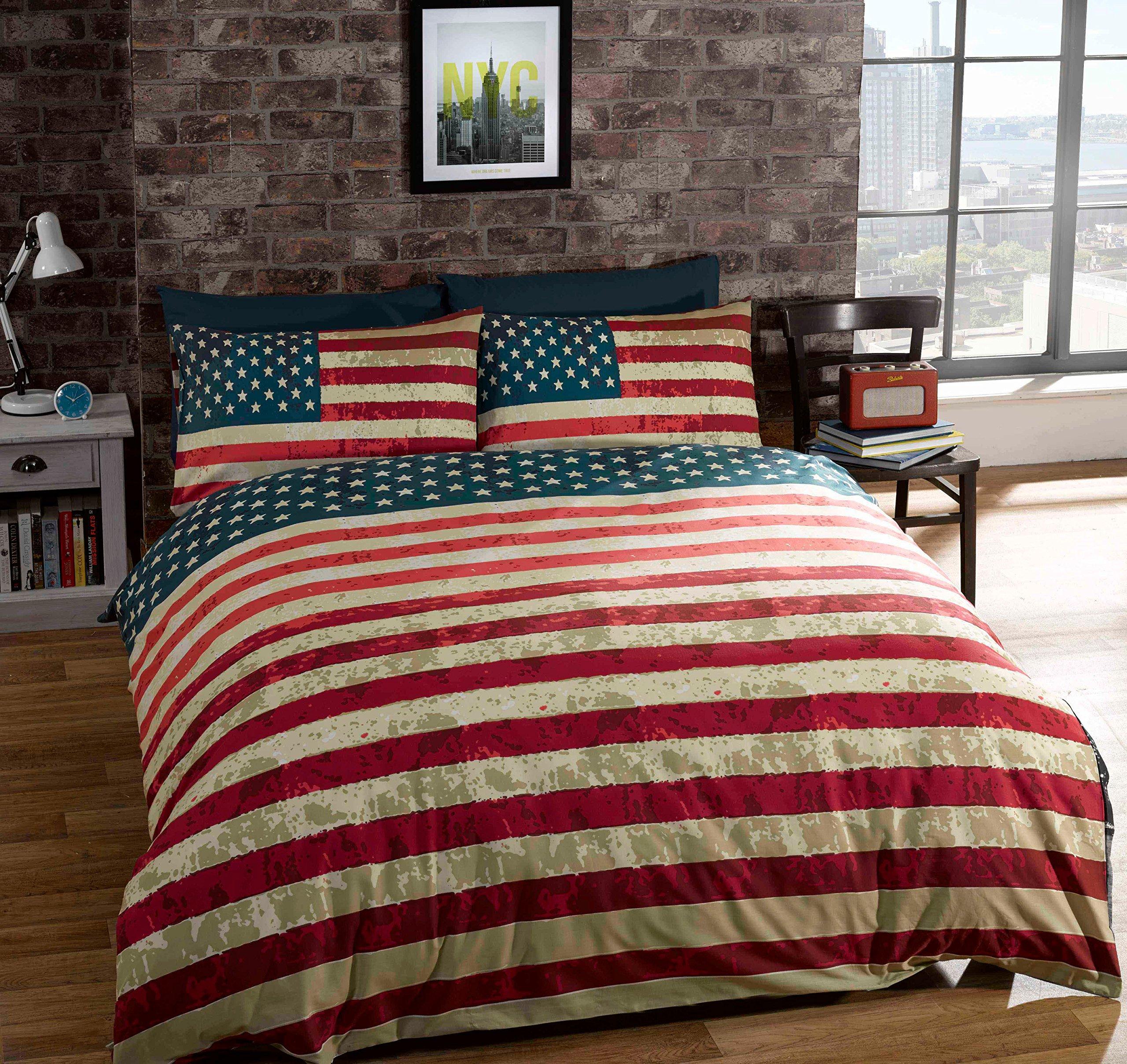 QUEEN SIZE (230 X 220CM - UK KING SIZE) AMERICAN UNITED STATES FLAG REVERSIBLE COTTON BLEND BLUE COMFORTER DUVET COVER