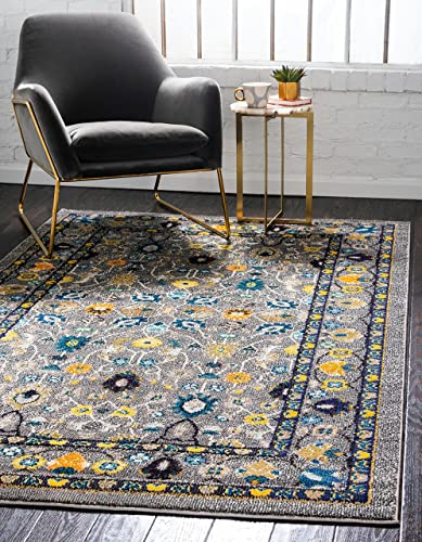 Unique Loom Medici Collection Floral Traditional Vibrant Colors Gray Area Rug 9' 0 x 12' 0