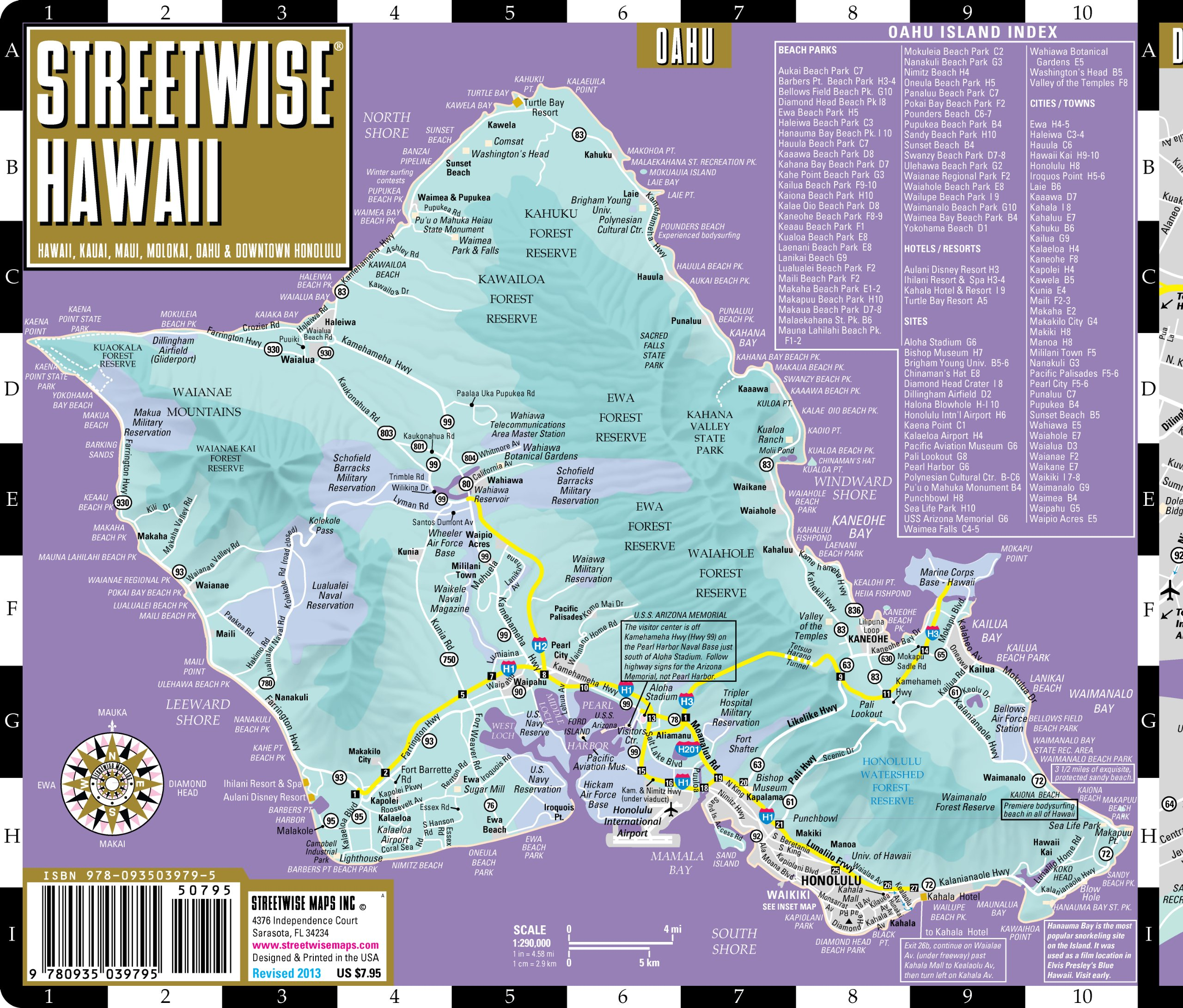 Streetwise Hawaii Map Laminated State Road Map of Hawaii – Kauai Tourist Map