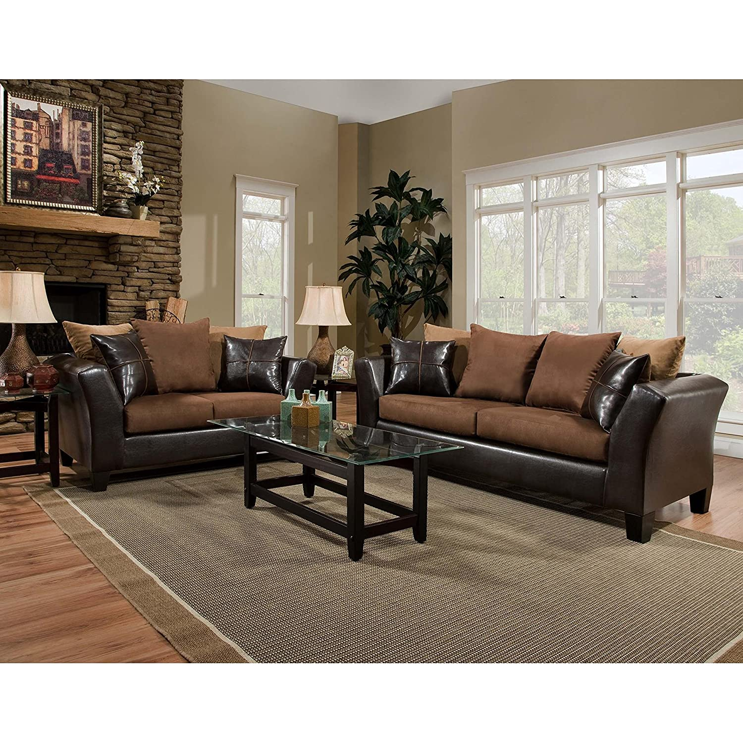 Amazon com flash furniture riverstone sierra chocolate microfiber living room set kitchen dining