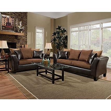 Flash Furniture Riverstone Sierra Chocolate Microfiber Living Room Set
