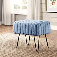 """Home Soft Things Super Mink Ottoman Bench, 19"""" x 13"""" x 17"""", Blue Mirage, 5 Pieces"""