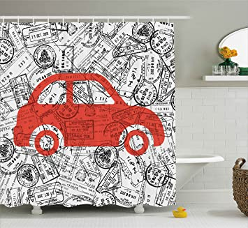 Cartoon Shower Curtain By Ambesonne Little Car With Travel Themed Passport Stamps Background Abstract Design