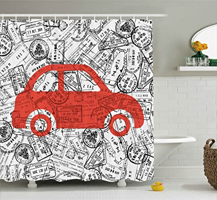 Ambesonne Cartoon Shower Curtain Little Car With Travel Themed Passport Stamps Background Abstract Design