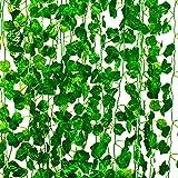 Mandy's 12 Strands Artificial Green Ivy Leaf Garland for Home Kitchen Wedding Wall Decor (Silk)
