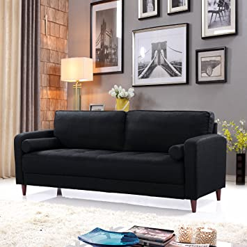 Divano Roma Furniture EXP90-FB-3S-BLK Middle Century Modern Linen Fabric  Living Room Sofa (Black)